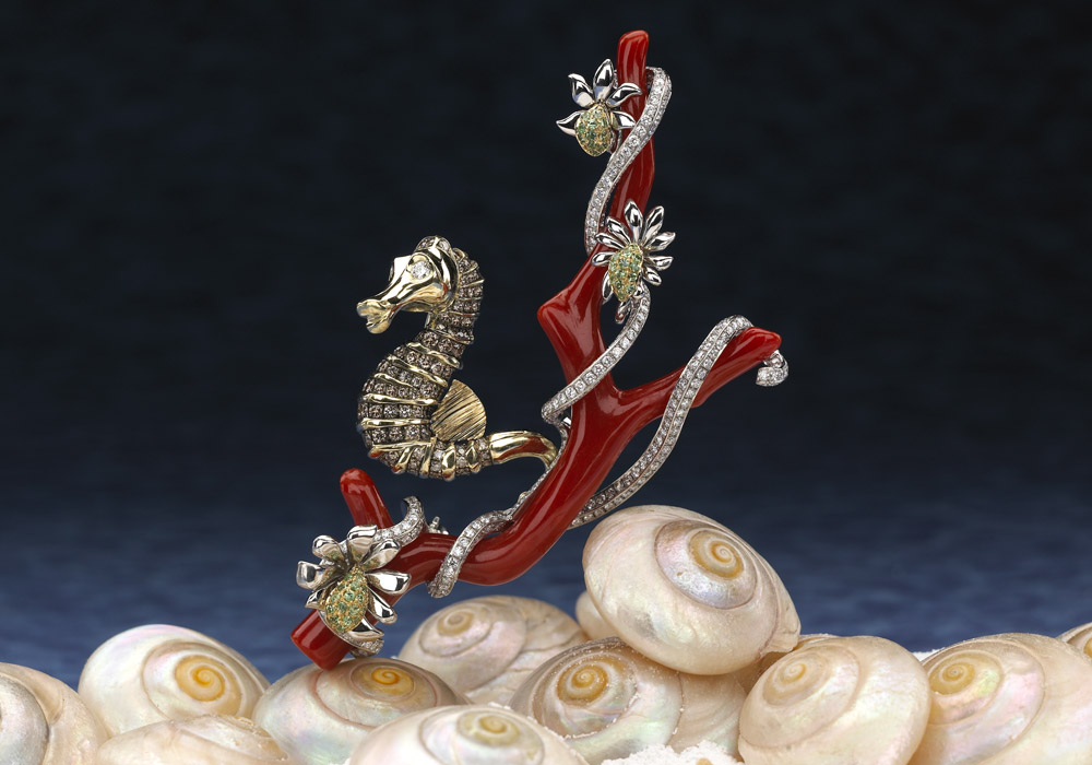 Natural Italian Red Coral Seahorse Broach