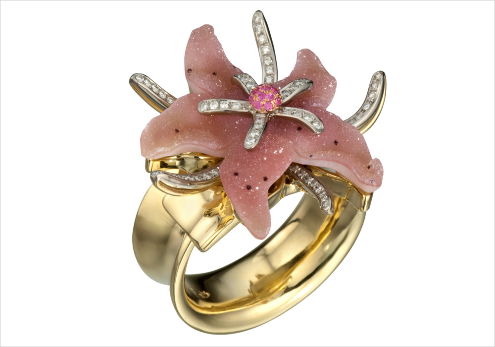 Rose Quartz Druzy Starfish Ring