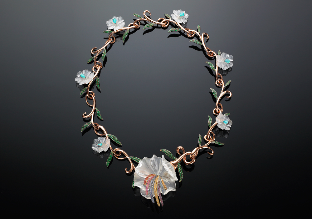 Crystal Flower Wreath Necklace and Choker